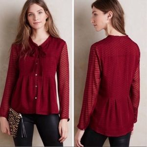 Anthropologie | Clip Dot Tie Neck Blouse Red XS